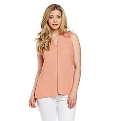 Roman Originals - Peach pleated front detail top