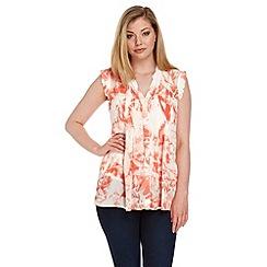 Roman Originals - Orange floral printed blouse