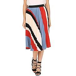 Tenki - Multicoloured stripy print midi skirt