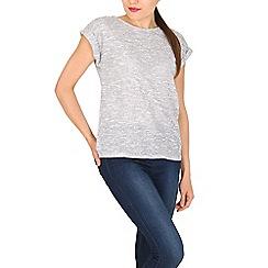 Izabel London - Grey round neck textured t-shirt