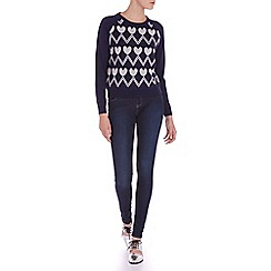 Sugarhill Boutique - Navy heart zig zag sweater