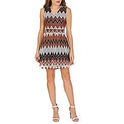 Mela - Multicoloured multi zig zag stripe dress