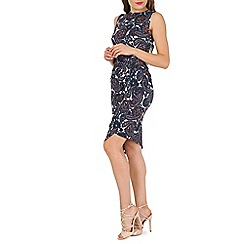 Mela - Blue blue side ruched paisley dress