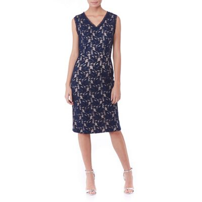 Poppy Lux Navy sapphire lace fitted shift dress