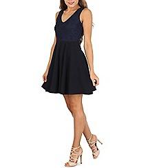 Mela - Navy lace contrast dress
