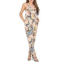 Oeuvre - Beige cross over front printed jumpsuit