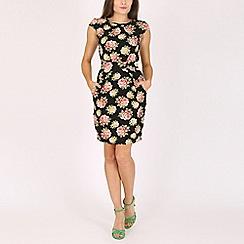 Voulez Vous - Black floral print bow back pocket dress