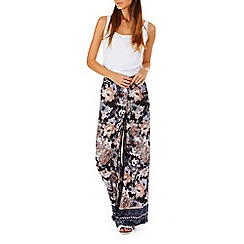 Poppy Lux - Multicoloured florentia floral border palazzo pants