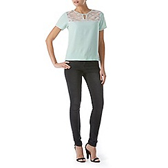 Poppy Lux - Blue odella lace yoke tee