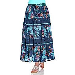 Roman Originals - Blue tiered printed skirt