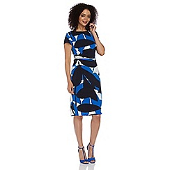 Roman Originals - Blue contrast leaf print dress
