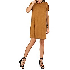 Mela - Tan suedette cowl neck dress