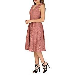 Jolie Moi - Mauve scalloped lace prom dress