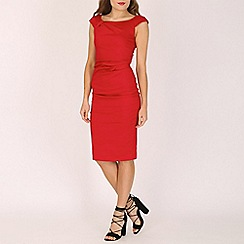 Jolie Moi - Red 40s ruched wiggle midi dress