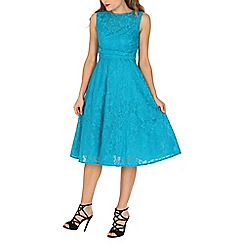 Jolie Moi - Turquoise Lace Bonded Fit & Flare Dress