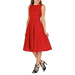 Jolie Moi - Red lace bonded fit & flare dress