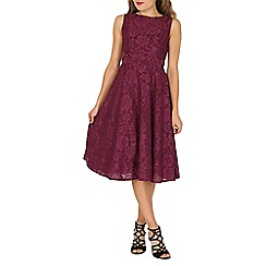 Jolie Moi - Wine lace bonded fit & flare dress