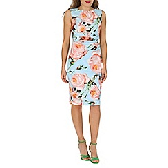 Jolie Moi - Blue floral print ruched dress