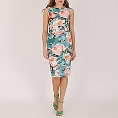 Jolie Moi - Green floral print ruched shift dress