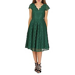 Jolie Moi - Dark green 50s cap sleeve lace midi dress