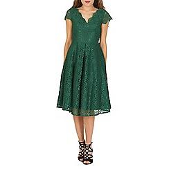 Jolie Moi - Dark green 50s cap sleeve lace dress