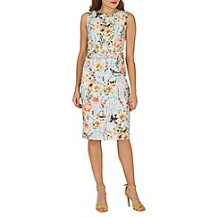 Jolie Moi - Aqua floral print ruched shift dress