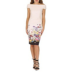Jolie Moi - Cream bardot neck floral print wiggle dress