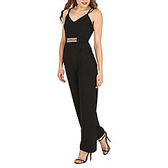 Mela - Black belted detail jumpsuit