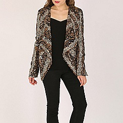Mela - Brown leopard waterfall jacket