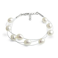 Jersey Pearl - White mse fwp white layered bracelet
