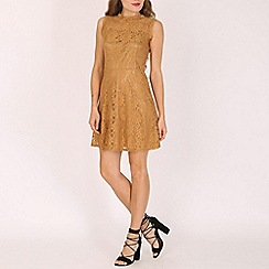 Mela - Tan floral lace skater dress
