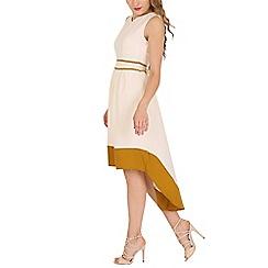 Mela - Cream contrast high low dress