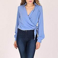 Lili London - Blue monica wrap side knot shirt