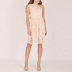 Lili London - Light pink rosie one shoulder lace dress
