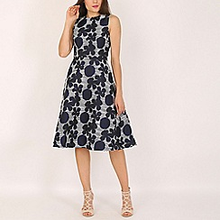 AX Paris - Navy embroidered midi skater dress