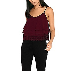 Alice & You - Wine lace trim cami top