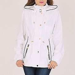 David Barry - White contoured hooded jacket
