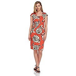 Roman Originals - Orange rose print dress