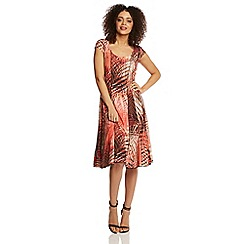 Roman Originals - Orange tropical panel dress
