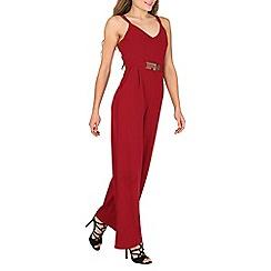 Mela - Dark red belted detail jumpsuit
