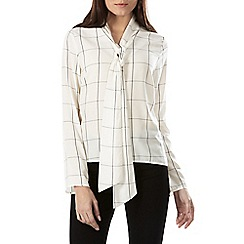 Sugarhill Boutique - White sarah check tie neck top