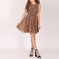 Mela - Brown bird print skater dress