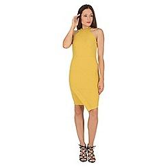 Jane Norman - Yellow asymmetric halterneck dress