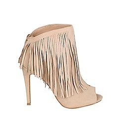 Jane Norman - Cream peep toe fringe boots