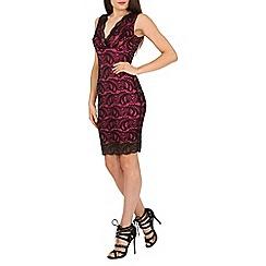 Jane Norman - Black black & pink v front lace dress