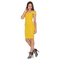 Jane Norman - Yellow bardot ottoman rib dress