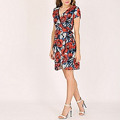 Tenki - Multicoloured floral print v-neck wrap dress