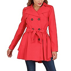 David Barry - Peach ruched slim fit trench coat
