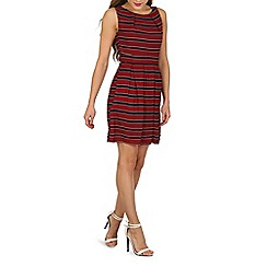 Mela - Dark red nautical stripe print dress