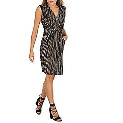 Mela - Black printed belted sleeveless dress